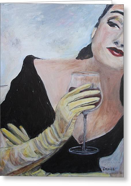 Woman With Wine Greeting Card by Denice Palanuk Wilson
