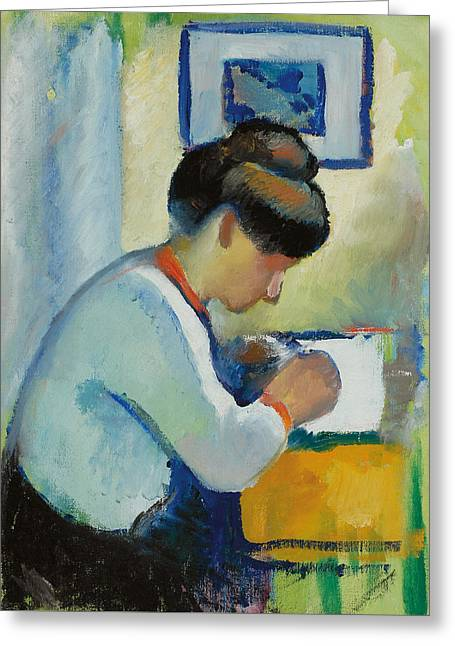 Macke Greeting Cards - Woman Writing Greeting Card by Franz Marc