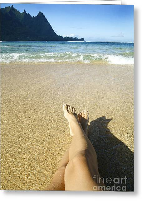 Womans Legs Relaxing Greeting Card by Kicka Witte - Printscapes