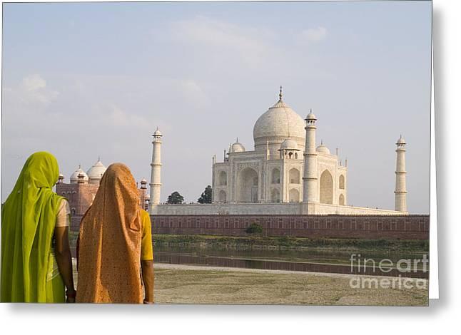 Women at Taj Mahal Greeting Card by Bill Bachmann - Printscapes