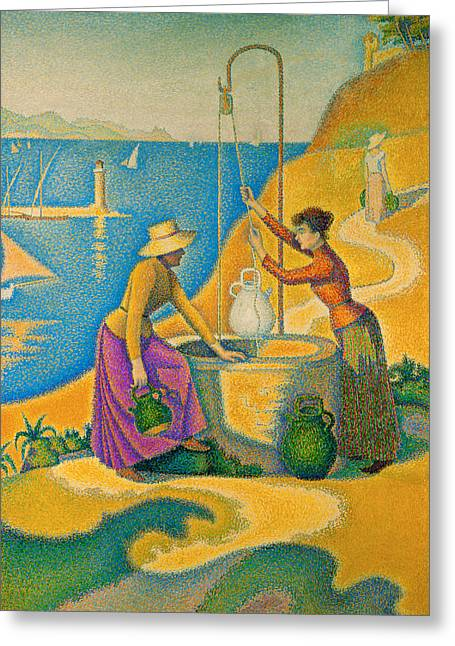 Women At The Well Greeting Card by Paul Signac