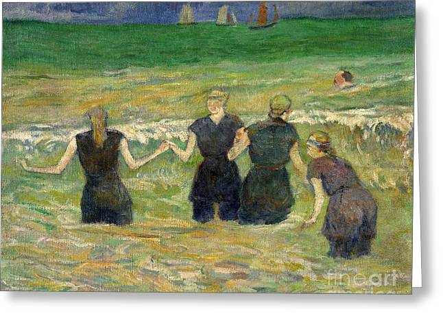 Vintage Painter Greeting Cards - Women Bathing Greeting Card by Gauguin