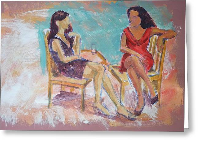 Talking Drawings Greeting Cards - Women Chatting Greeting Card by Mike Jory