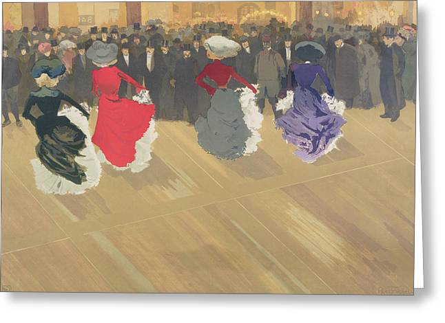 Women Dancing the Can Can Greeting Card by Abel Truchet