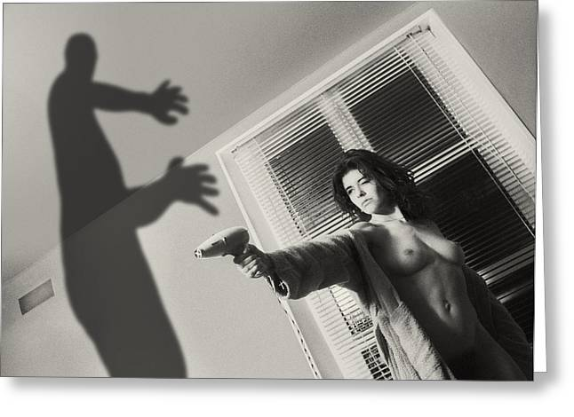 Women Danik And The Shadow Greeting Card by Philippe Taka