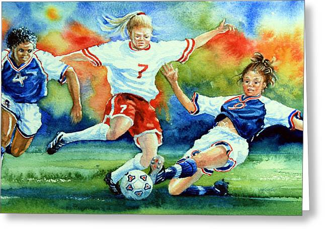 Girls Soccer Art Greeting Cards - Women Greeting Card by Hanne Lore Koehler