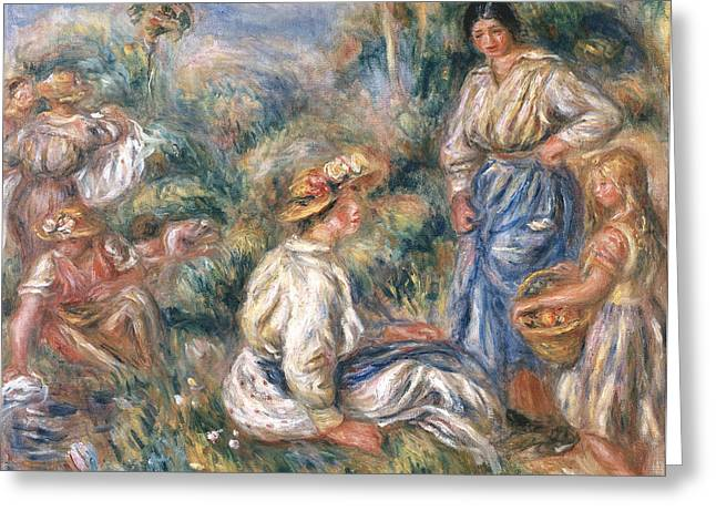 Woman In Hat Greeting Cards - Women in a Landscape Greeting Card by Renoir
