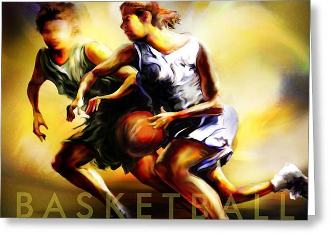 Basketballs Greeting Cards - Women in Sports - Basketball Greeting Card by Mike Massengale