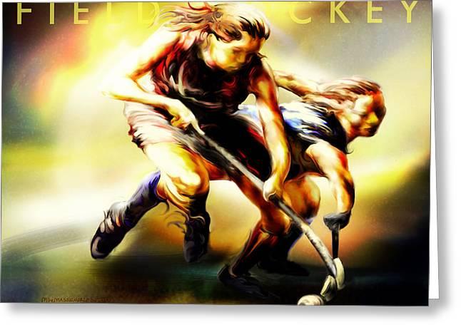 Field Digital Art Greeting Cards - Women in Sports - Field Hockey Greeting Card by Mike Massengale