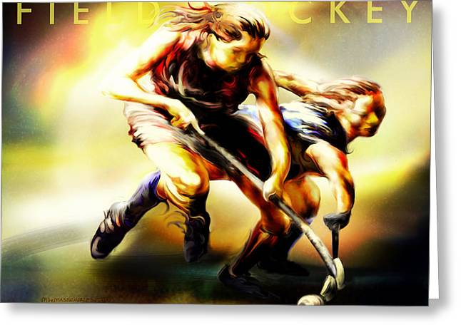 Women in Sports - Field Hockey Greeting Card by Mike Massengale