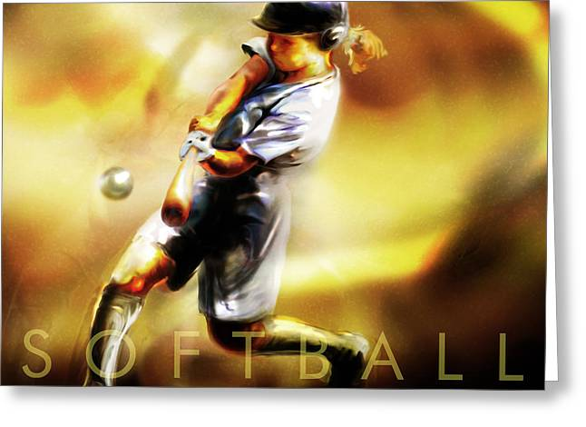 Women in Sports - Softball Greeting Card by Mike Massengale