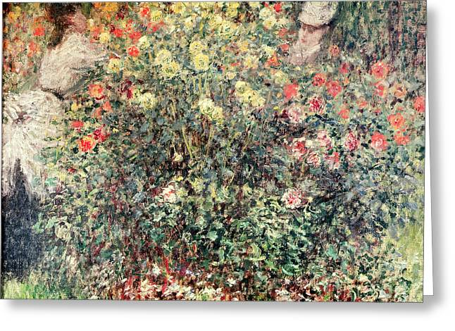 Le Jardin Greeting Cards - Women in the Flowers Greeting Card by Claude Monet