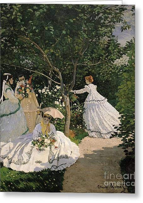 Crinoline Greeting Cards - Women in the Garden Greeting Card by Claude Monet
