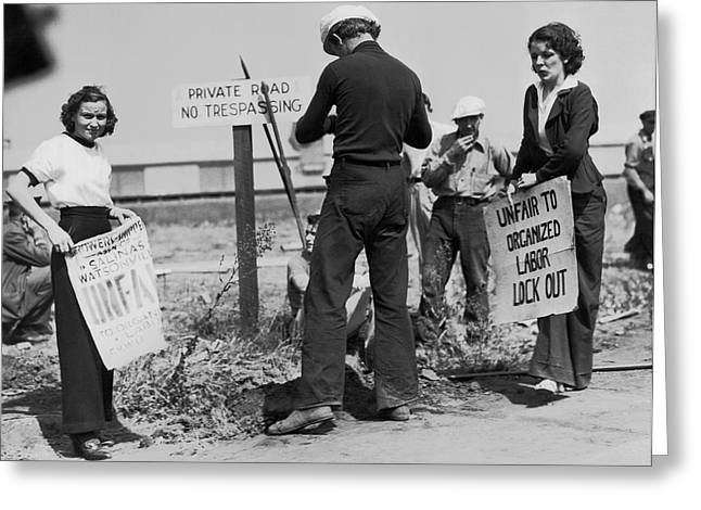 Women Pickets In Salinas Greeting Card by Underwood Archives