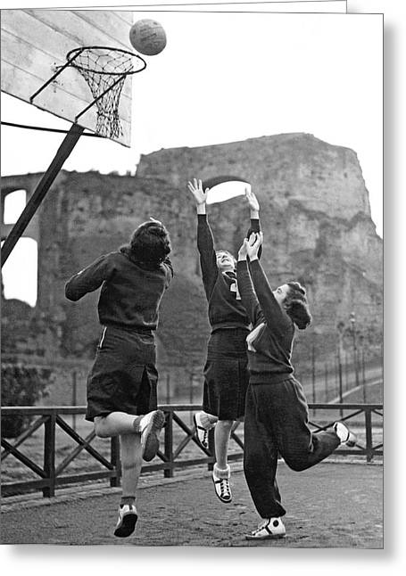 Women Playing Basketball Greeting Card by Underwood Archives