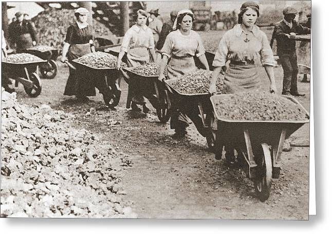 Wwi Greeting Cards - Women Pushing Wheelbarrows And Working Greeting Card by Ken Welsh