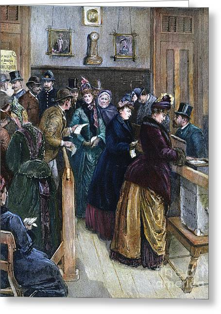 Democratic System Greeting Cards - Women Voting, 1888 Greeting Card by Granger