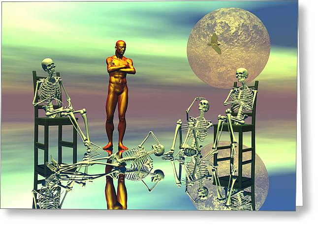 Scifi Digital Greeting Cards - Women waiting for the perfect man Greeting Card by Claude McCoy