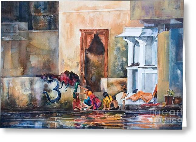 Kate Bedell Greeting Cards - Women Washing by the Lake Udaipur India Greeting Card by Kate Bedell