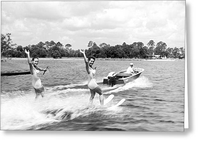 Swimsuits Swimming Costumes Greeting Cards - Women Water Skiers Waving Greeting Card by Underwood Archives