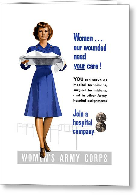 Health Greeting Cards - Womens Army Corps - WW2 Greeting Card by War Is Hell Store