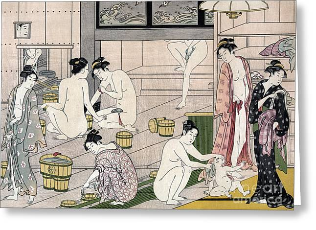Women's Bathhouse Greeting Card by Torii Kiyonaga