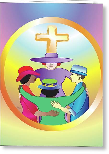 Women's Circle Of Faith Greeting Card by Brenda Dulan Moore