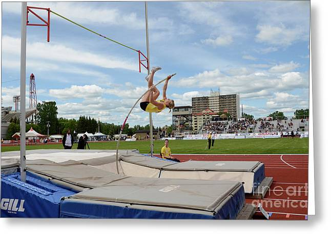 Womens Pole Vault 2 Greeting Card by Bob Christopher