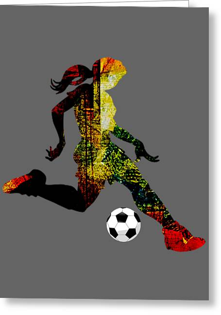 Girls Soccer Art Greeting Cards - Womens Soccer Collection Greeting Card by Marvin Blaine