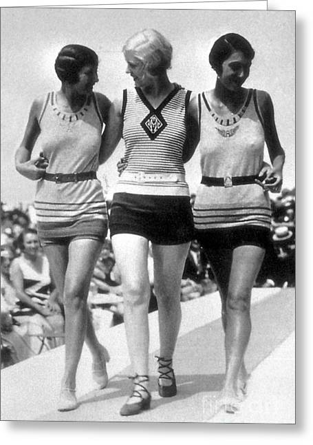 Swimsuit Photo Greeting Cards - Womens Swimwear, 1928 Greeting Card by Science Source