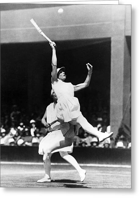 Racquet Photographs Greeting Cards - Womens Tennis At Wimbledon Greeting Card by Underwood Archives
