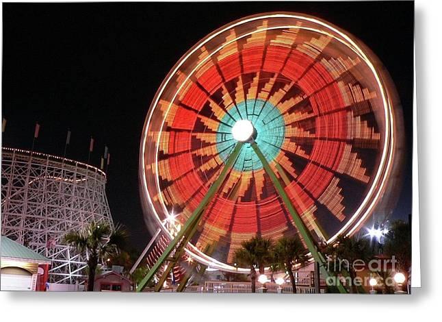 Ferris Wheel Night Photography Greeting Cards - Wonder Wheel Greeting Card by Al Powell Photography USA
