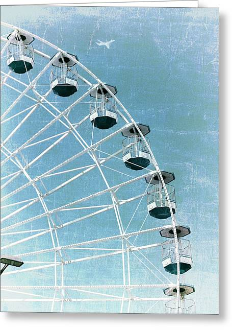 Amusements Greeting Cards - Wonder Wheel and Plane Series 3 Blue Greeting Card by Marianne Campolongo