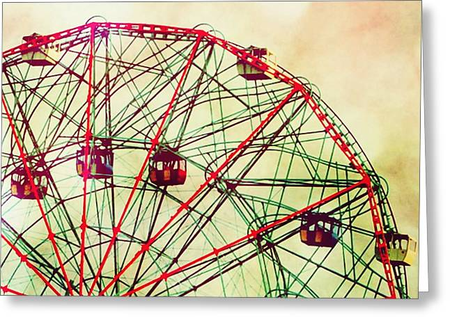 York Beach Greeting Cards - Wonder Wheel Coney Island Greeting Card by Mingtaphotography