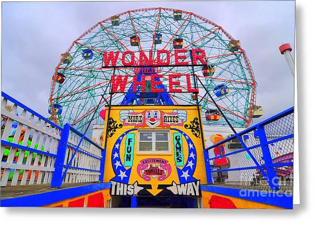 Amusements Greeting Cards - Wonder Wheel Greeting Card by Mark Gilman