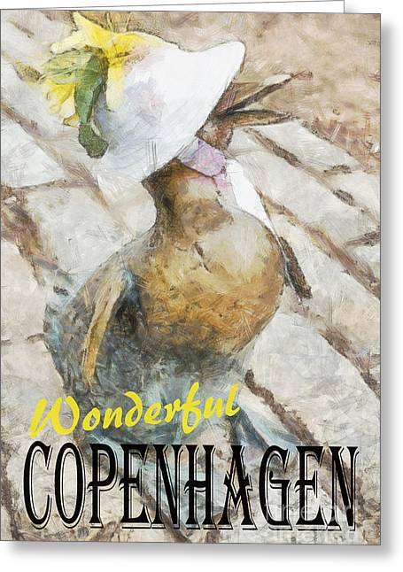 Wonderful Photographs Greeting Cards - Wonderful Copenhagen Vintage Style Travel Poster Greeting Card by Edward Fielding