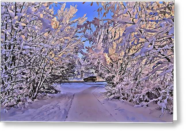 Snow Drifts Digital Art Greeting Cards - Wonderful Winter Day Greeting Card by Alexey Bazhan