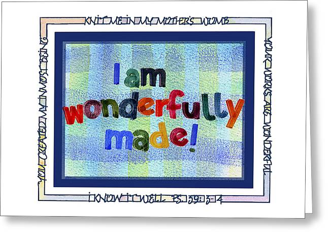 Spiritual Birth Greeting Cards - Wonderfully Made Greeting Card by Judy Dodds