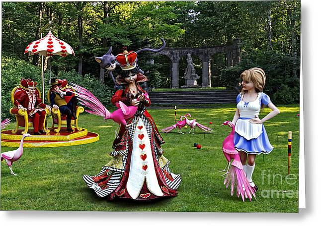Croquet Greeting Cards - Wonderland Croquet Game Greeting Card by Methune Hively