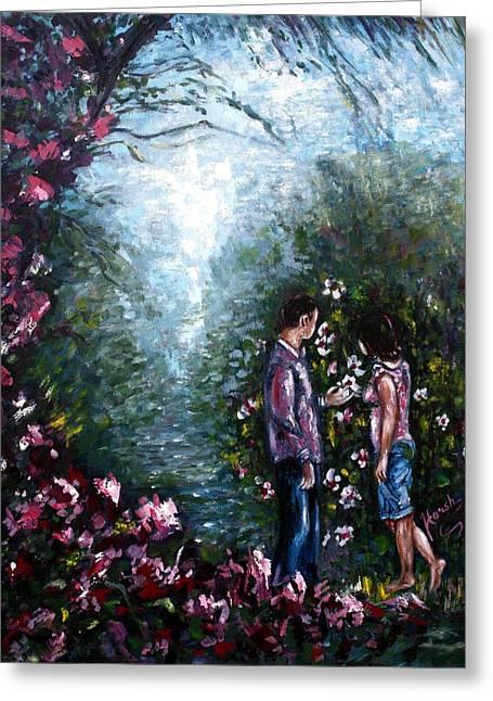 Garden Scene Digital Greeting Cards - WonderLand Greeting Card by Harsh Malik
