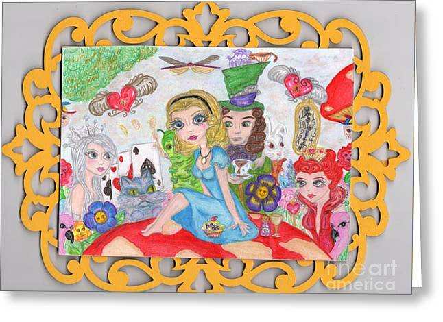 Mad Hatter Mixed Media Greeting Cards - Wonderland Greeting Card by Fiona Hilton
