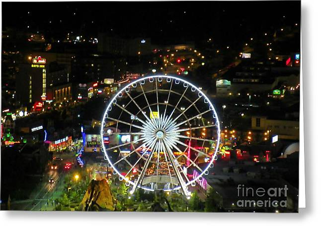 View Sculptures Greeting Cards - Wonderwheel in Niagara Falls at Night Greeting Card by John Malone