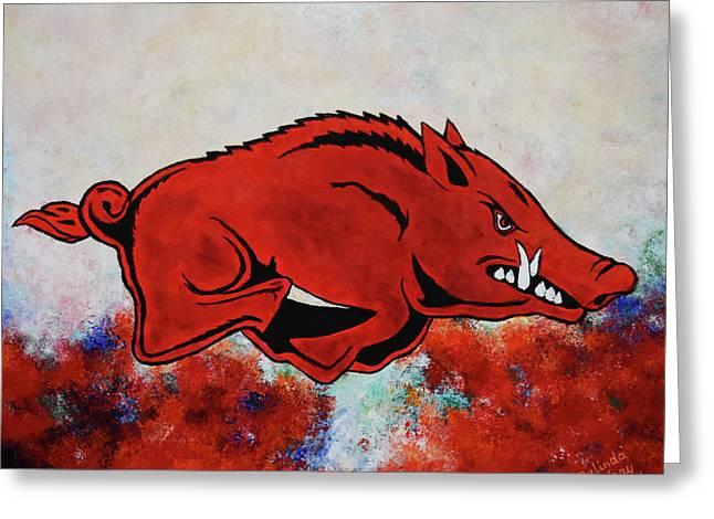 Woo Pig Sooie Greeting Card by Belinda Nagy
