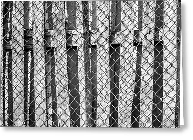 Industrial Background Greeting Cards - Wood and Wire Fence Greeting Card by John Williams