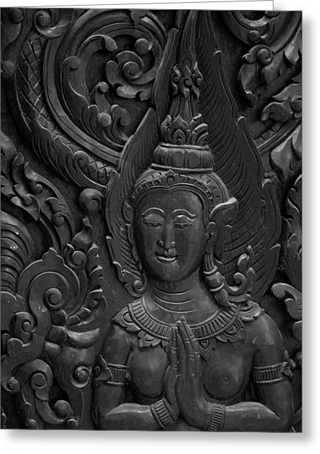Statue Portrait Reliefs Greeting Cards - Wood Carving. Greeting Card by Dollatum Hanrud