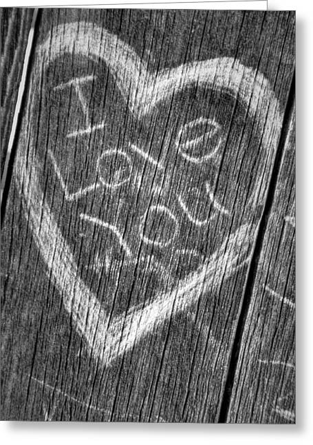 Wood Carving I Love You Greeting Card by Connie Cooper-Edwards