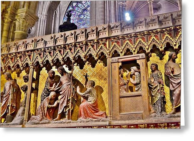 Kim Photographs Greeting Cards - Wood Carvings at the Notre Dame Cathedral Paris France Greeting Card by Kim Bemis