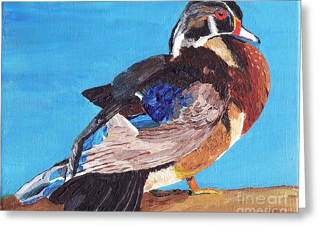Greeting Card featuring the painting Wood Duck by Rodney Campbell