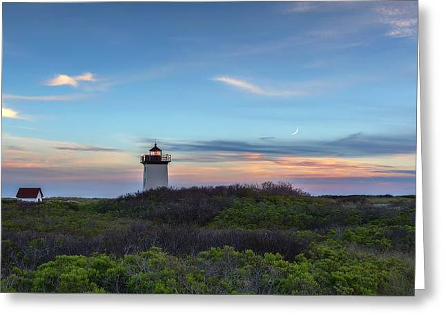 Historical Lighthouse Greeting Cards - Wood End Light Sundown Greeting Card by Bill Wakeley