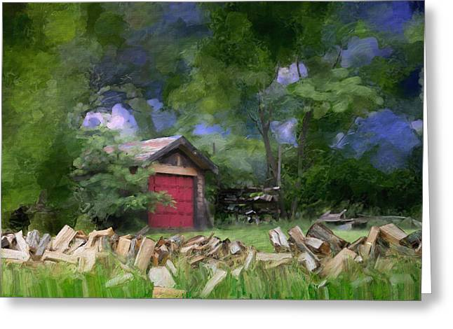 Amesbury Greeting Cards - Wood farm and garage in Amesbury MA Greeting Card by Thomas Logan
